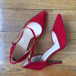 High heel ankle strap  stiletto red suede NEW sexy
